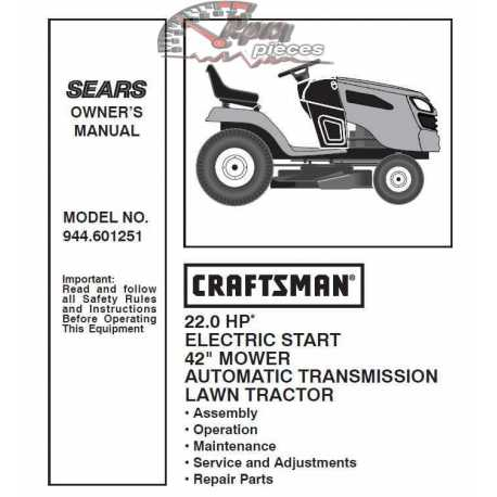Craftsman Tractor Parts Manual 944.601251