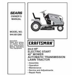 Craftsman Tractor Parts Manual 944.601260