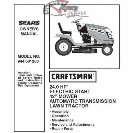 Craftsman Tractor Parts Manual 944.601260