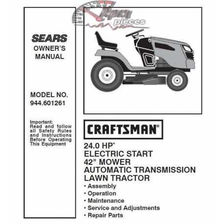 Craftsman Tractor Parts Manual 944.601261