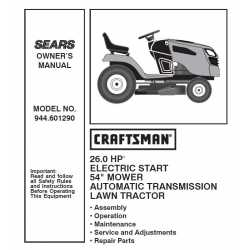 Craftsman Tractor Parts Manual 944.601290