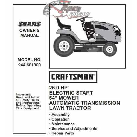 Craftsman Tractor Parts Manual 944.601300