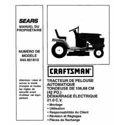 Craftsman Tractor Parts Manual 944.601810