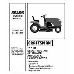 Craftsman Tractor Parts Manual 944.601881