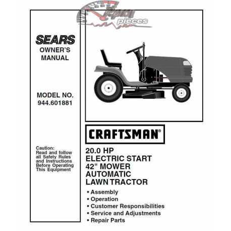 Craftsman Tractor Parts Manual 944.601881