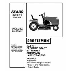Craftsman Tractor Parts Manual 944.601891