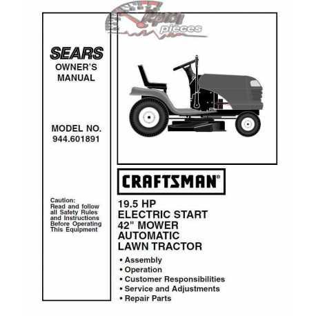 Craftsman Tractor Parts Manual 944.601891