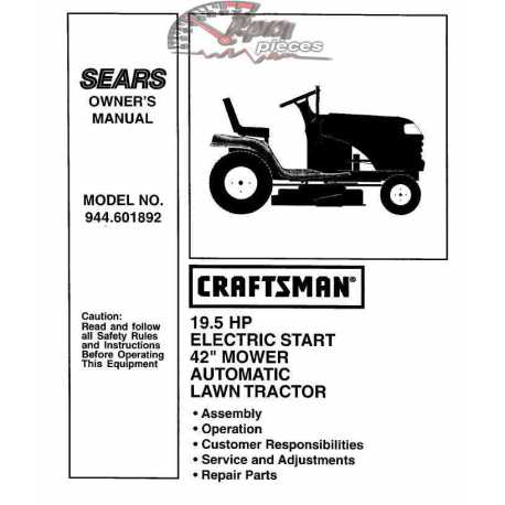 Craftsman Tractor Parts Manual 944.601892