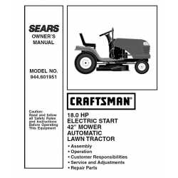 Craftsman Tractor Parts Manual 944.601951