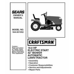 Craftsman Tractor Parts Manual 944.601952