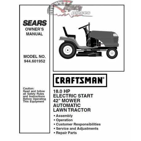 Craftsman Tractor Parts Manual 944.601952