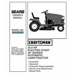 Craftsman Tractor Parts Manual 944.602000