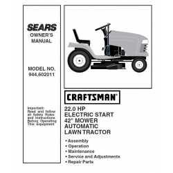 Craftsman Tractor Parts Manual 944.602011