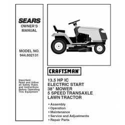 Craftsman Tractor Parts Manual 944.602131
