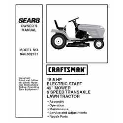 Craftsman Tractor Parts Manual 944.602151