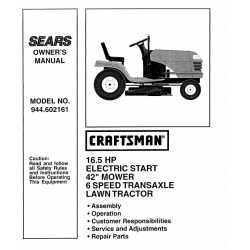 Craftsman Tractor Parts Manual 944.602161