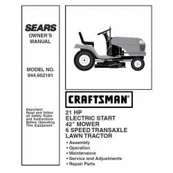 Craftsman Tractor Parts Manual 944.602181