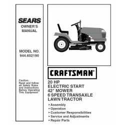 Craftsman Tractor Parts Manual 944.602190