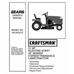 Craftsman Tractor Parts Manual 944.602212