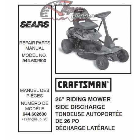 Craftsman Tractor Parts Manual 944.602600