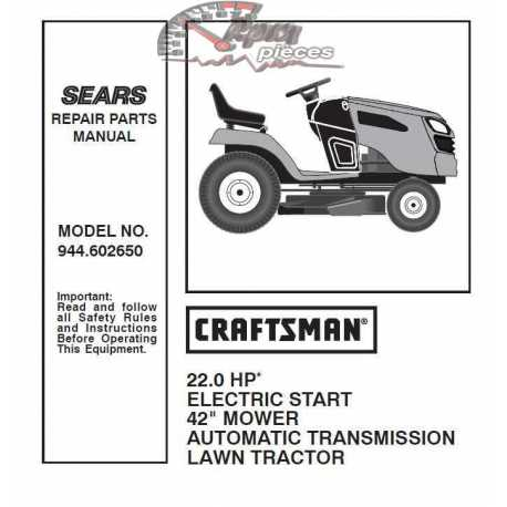 Craftsman Tractor Parts Manual 944.602650