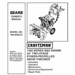Craftsman snowblower Parts Manual 944.525412