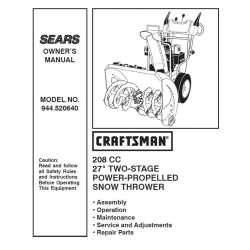 Craftsman snowblower Parts Manual 944.520640