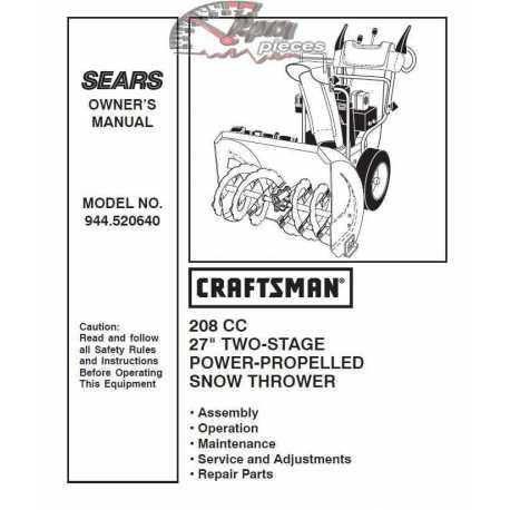 Craftsman snowblower Parts Manual 944.520640
