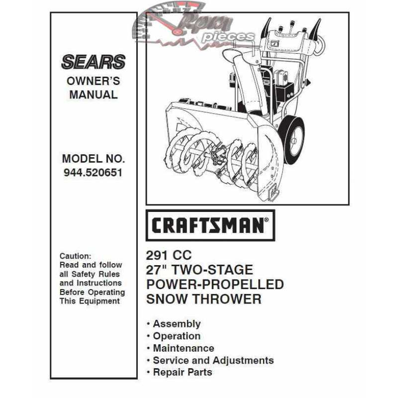 craftsman snowblower parts manual 944 520651