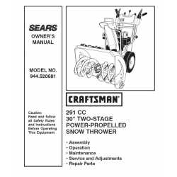 Craftsman snowblower Parts Manual 944.520681