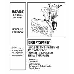 Craftsman snowblower Parts Manual 944.520700