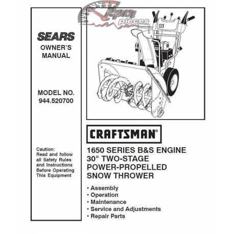 Craftsman snowblower Parts Manual 944.520700