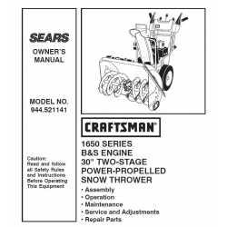 Craftsman snowblower Parts Manual 944.521141