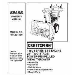 Craftsman snowblower Parts Manual 944.521150