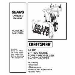 Craftsman snowblower Parts Manual 944.522290