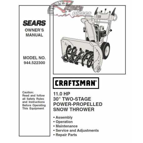 Craftsman snowblower Parts Manual 944.522300