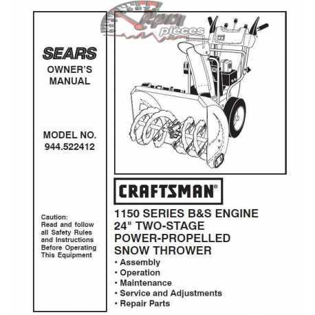 Craftsman snowblower Parts Manual 944.522412