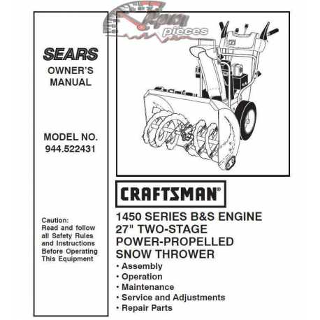 Craftsman snowblower Parts Manual 944.522431