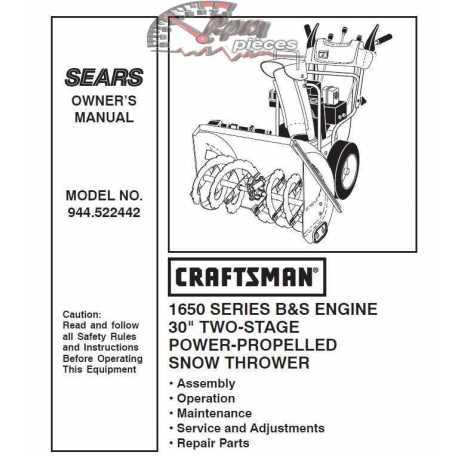 Craftsman snowblower Parts Manual 944.522442