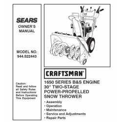 Craftsman snowblower Parts Manual 944.522443