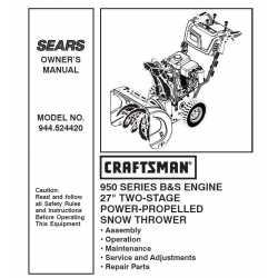 Craftsman snowblower Parts Manual 944.524420