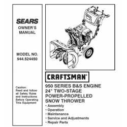 Craftsman snowblower Parts Manual 944.524450
