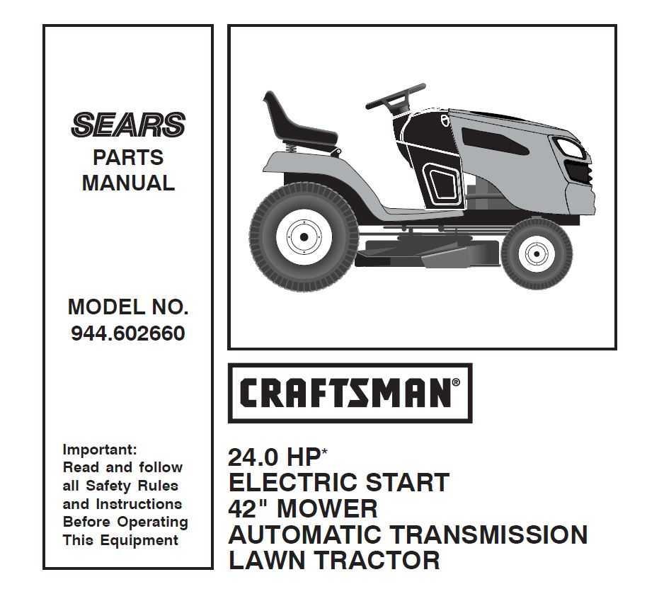 Craftsman Tractor Parts Manual 944 602660
