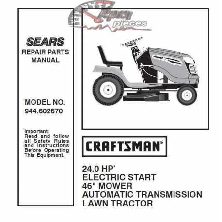 Craftsman Tractor Parts Manual 944.602670