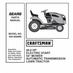 Craftsman Tractor Parts Manual 944.602680
