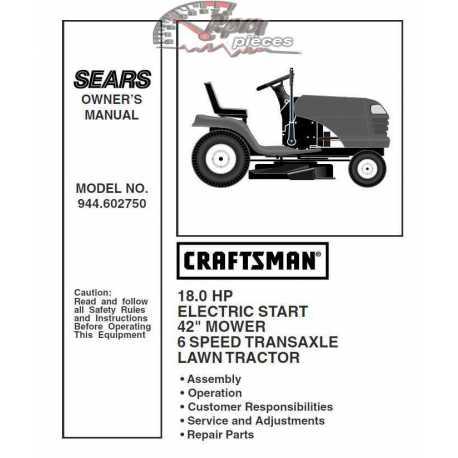 Craftsman Tractor Parts Manual 944.602750