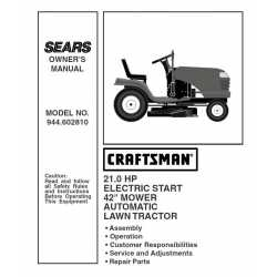 Craftsman Tractor Parts Manual 944.602810