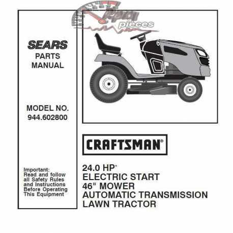 Craftsman Tractor Parts Manual 944.602800