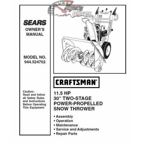Craftsman snowblower Parts Manual 944.524702