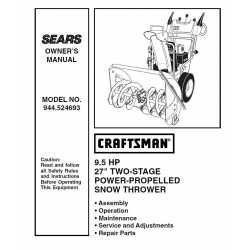 Craftsman snowblower Parts Manual 944.524693